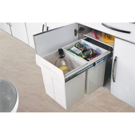 poubelle de cuisine tri selectif 2 bacs 2x20