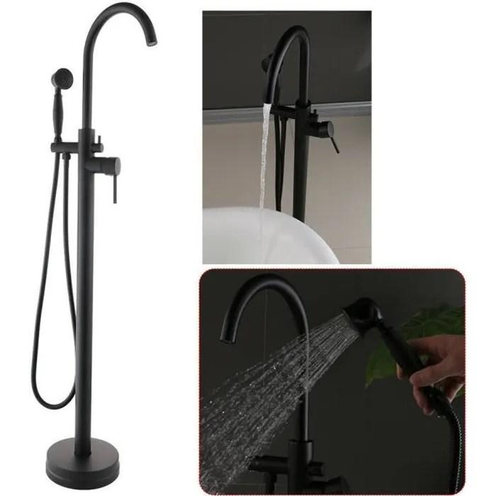 robinet mitigeur noir pour baignoire