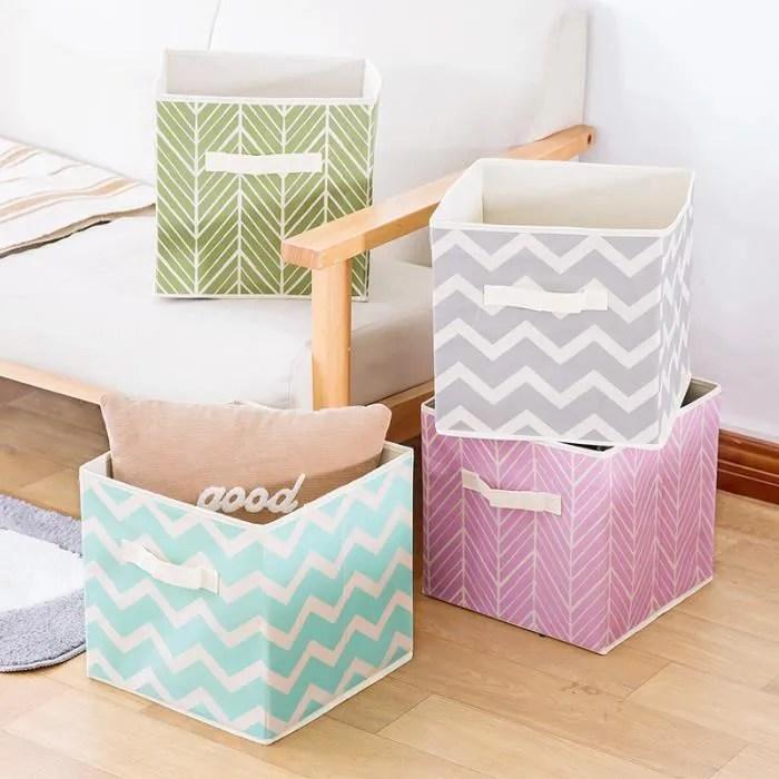 panier de rangement en tissu lot de 4 grand bac de stockage pour couettes vetements ou jouets organiseur de chambre d enfant