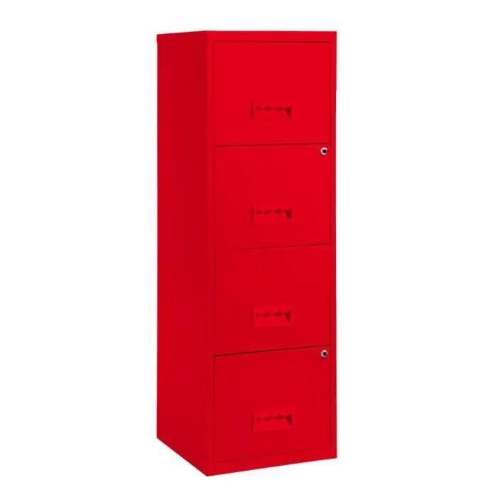 colonne de rangement 4 tiroirs en metal rouge 4