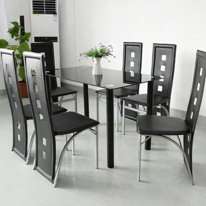 jeobest lot de 6 chaises salle a manger cuisine revetement en simili noir