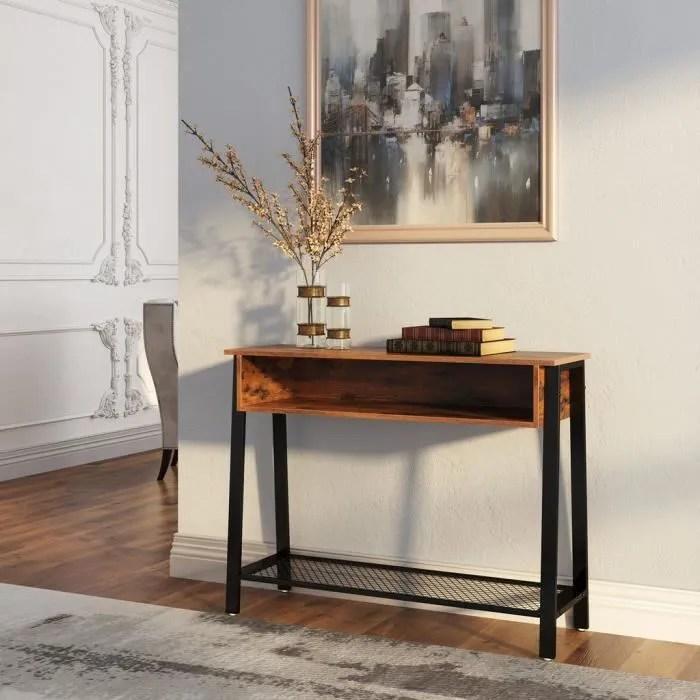 vasagle table console style industriel 100 x 35 x 80 lxlxh cm avec etagere en treillis et casier ouvert marron lnt93x