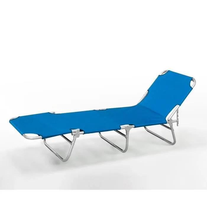 lit de plage pliant bain de soleil transat plage aluminium verona couleur bleu