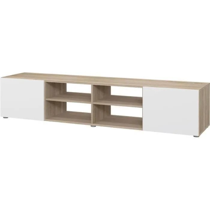 meuble tv blanc et chene l 180 x p 42 x h 37 c