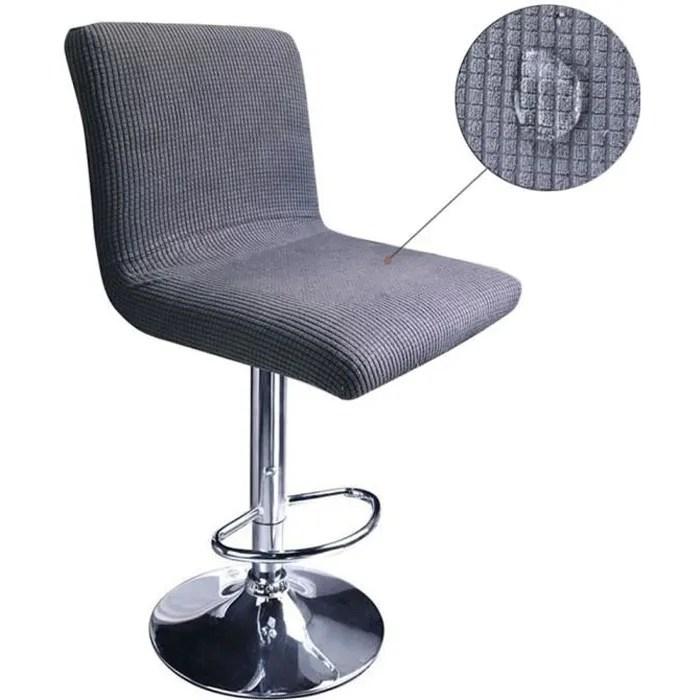 lot de 2 housses de tabouret de bar avec dossier extensible impermeable couverture pour chaise de salle a manger pivotante gris