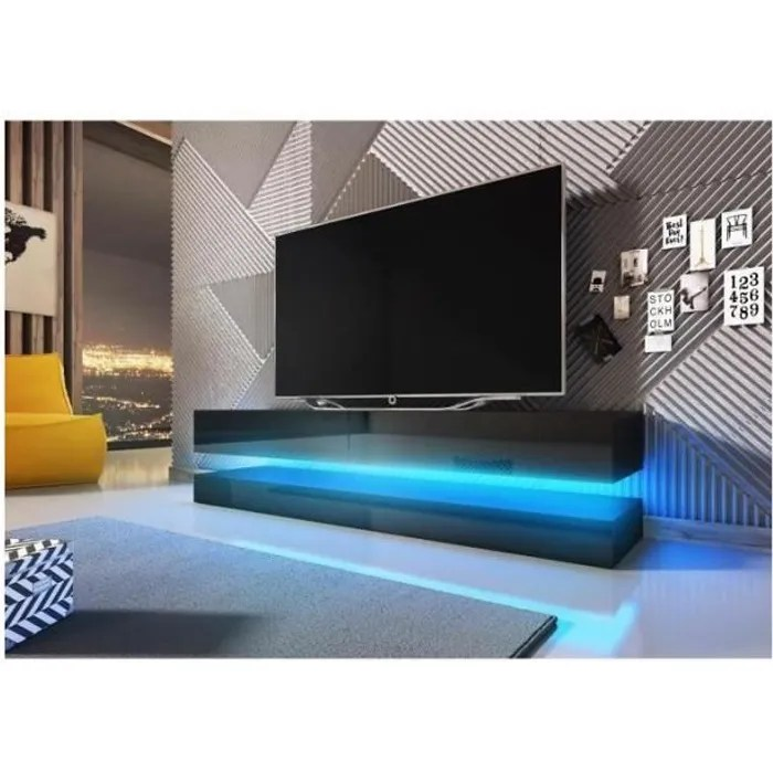meuble tv design suspendu fly 140 cm a 2 tiroirs