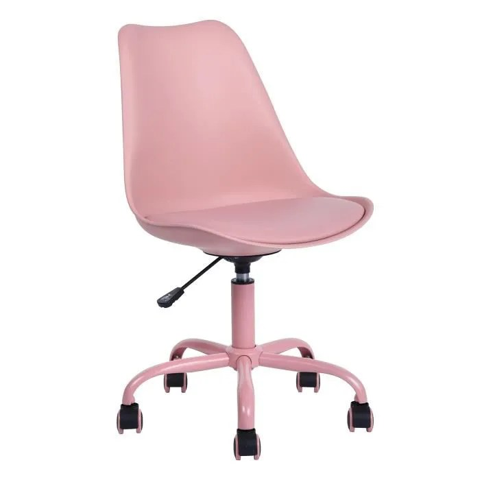 furnish1 chaise de bureau hauteur reglable chaise de bureau a roulettes enfant rose style contemporain l48xp55xh82 92cm