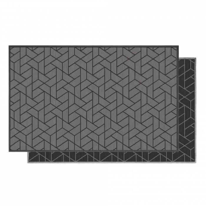 tapis d interieur tapis deco rectangle 80 x 150 cm tisse reversible harvey gris et noir