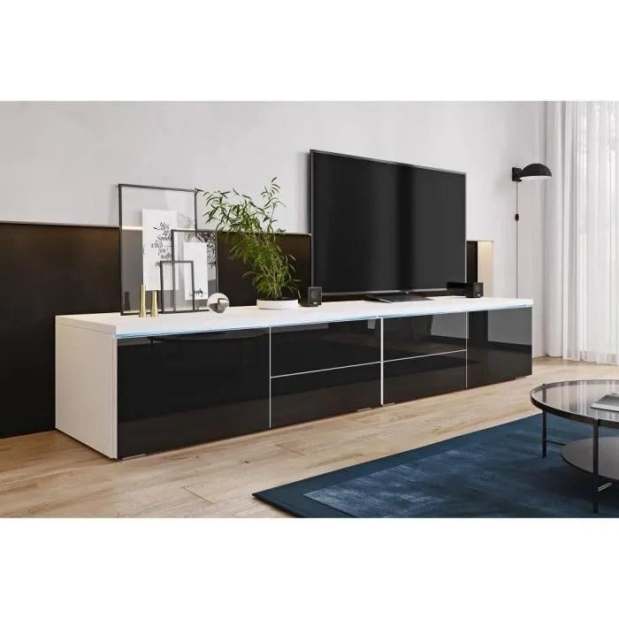 furnix meuble tv banc tv lorica double 2x100 cm blanc mat noir brillant avec led 2 compartiments fermes 4 tiroirs