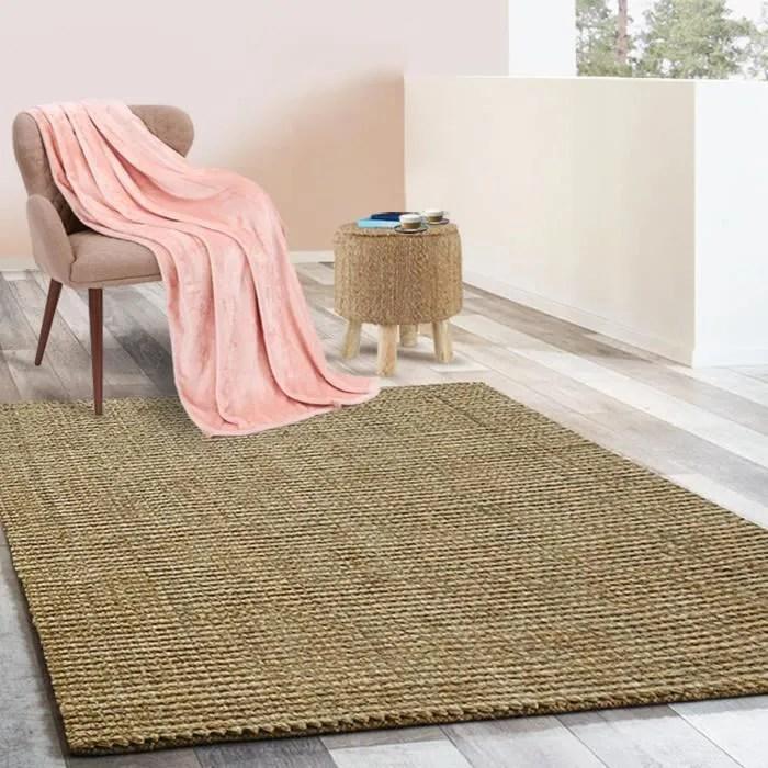 tapis jute 140x200 cm tapis de salon moderne t