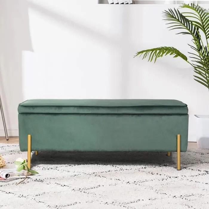 furnish1 tudor banc coffre banquette coffre avec rangement style contemporain velours vert et metal dore l105 x p44 x h44cm