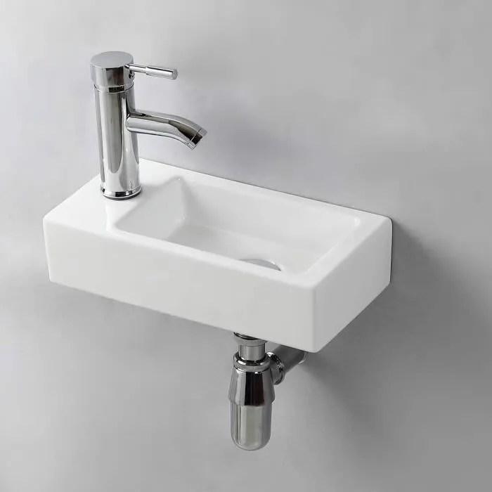 gimify lave main suspendu lavabo mural pour wc left hand 370 185 90mm