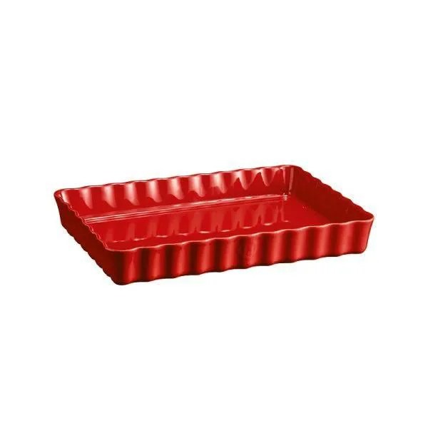 plat a tarte tourtiere rectangulaire 34 x 24 cm rouge grand cru emile henry