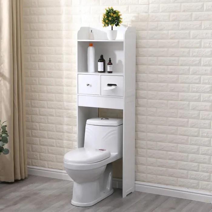 armoire de salle de bain au sol etagere de rangement avec tiroirs blanc