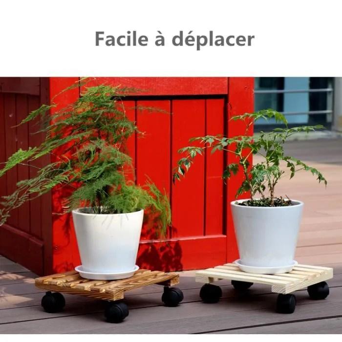 soucoupe pot fleur roulettes carree porte plante bois planche roulant dessous de pot de fleur chariot de transport pour plantes