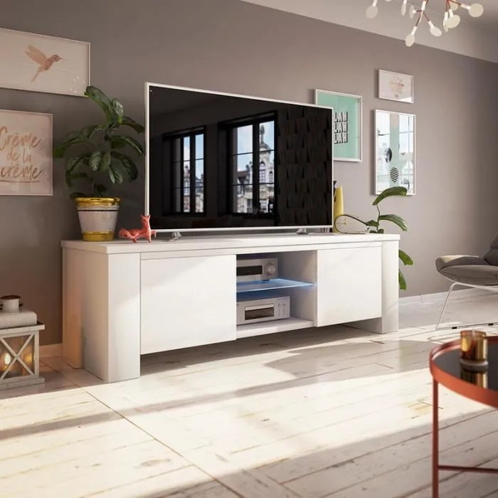 meuble tv meuble salon jackson 130 cm blanc mat blanc brillant avec led style moderne tablette en verre