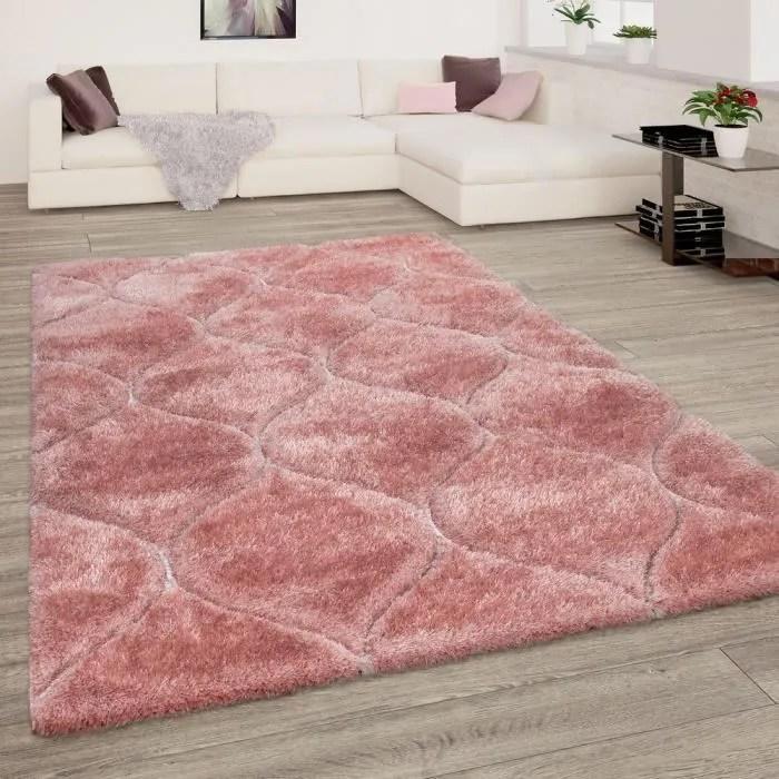 tapis de salon rose doux poils longs shaggy moelle