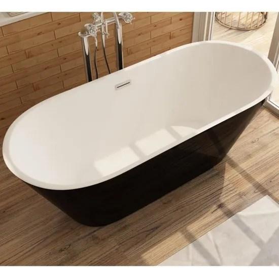 lugano baignoire ilot noir 160 x 80 cm