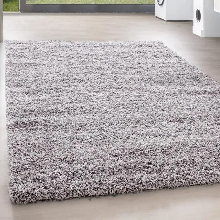 tapis shaggy long pile gris clair 200 x 290 cm