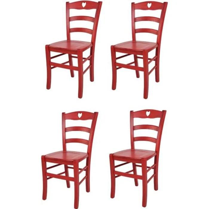 tommychairs set 4 chaises cuisine cuore robuste structure en bois de hetre peindre en aniline couleur rouge et assise en bois