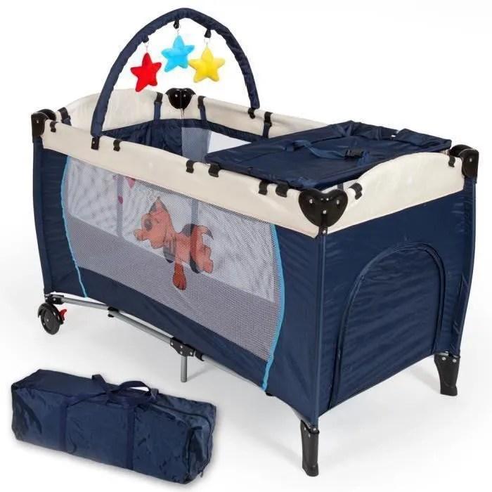 128 cm x 65 cm x 83 cm lit parapluie lit bebe pliant bleu