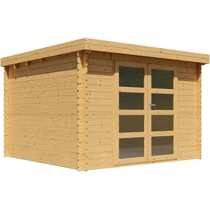 abri de jardin bois 9 m2 toit plat