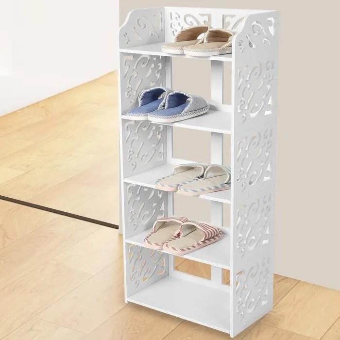 meuble de chaussures etagere de rangement pour organisater des chaussures support a chaussures blanc 40 23 90cm tip