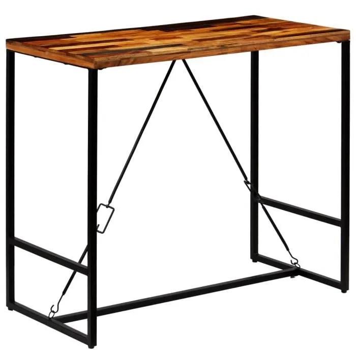 tidyard table de bar table haute de bar industrielle table de cuisine en bois recycle solide 120 x 60 x 106 cm