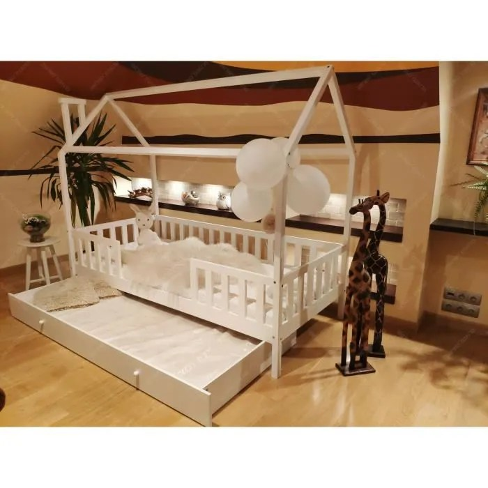 lit cabane maison pour enfants avec barrieres et tiroir couleur blanc 190x80cm en bois