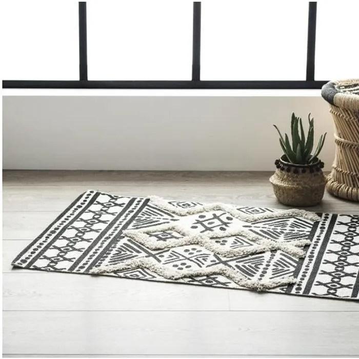 atmosphera tapis coton noir et blanc 60x90 l 90