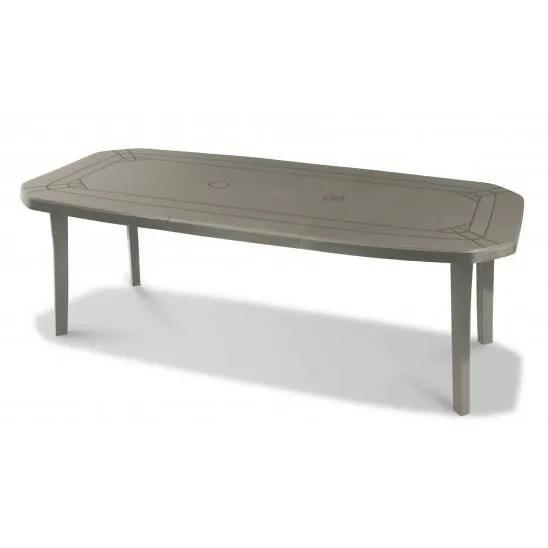 grosfillex table de jardin miami 220 cm taupe