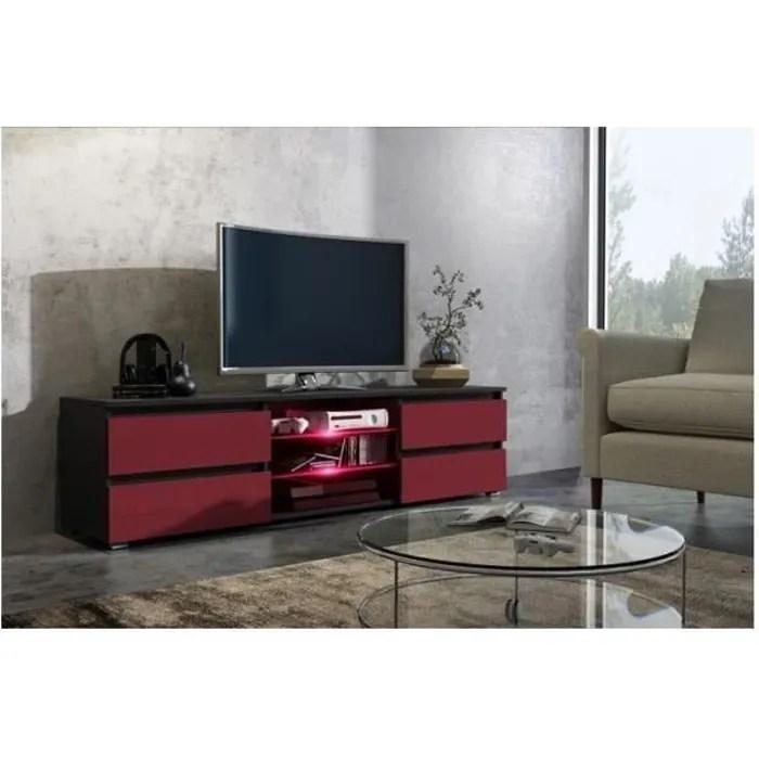meuble tv 150 cm noir mat et facade bordeaux laque