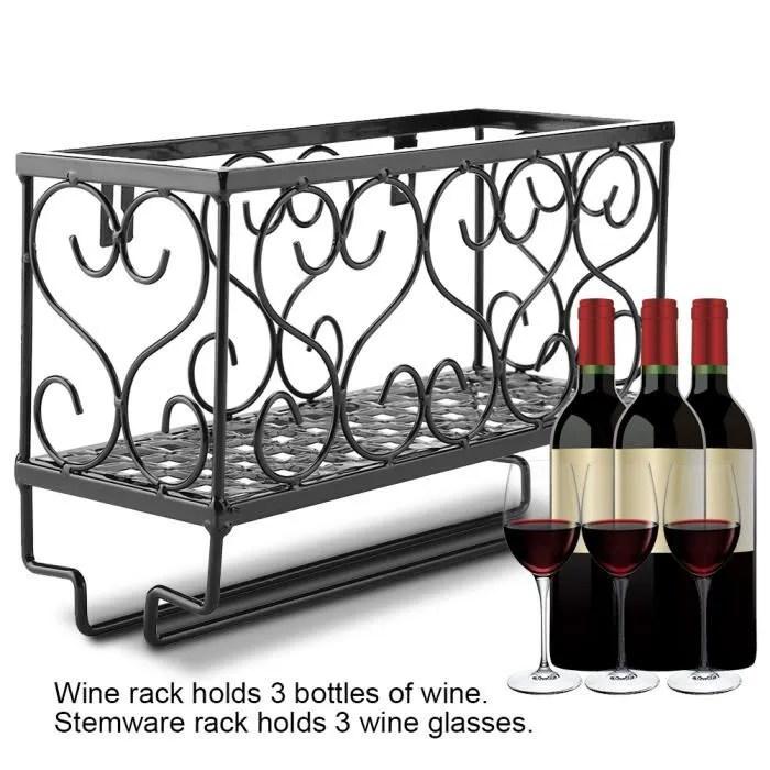 support mural pour bouteilles de vin en metal avec support de bouteille de verre a champagne et etagere de rangement 25 17 10cm noir
