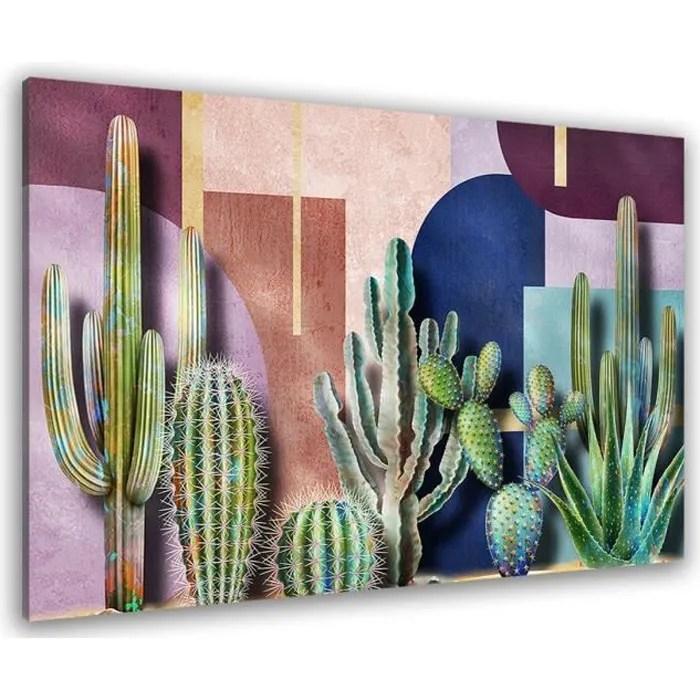 hxa deco decoration murale decoration chambre art mural tableau deco tableau cactus et cercles graphiques 80x50 cm