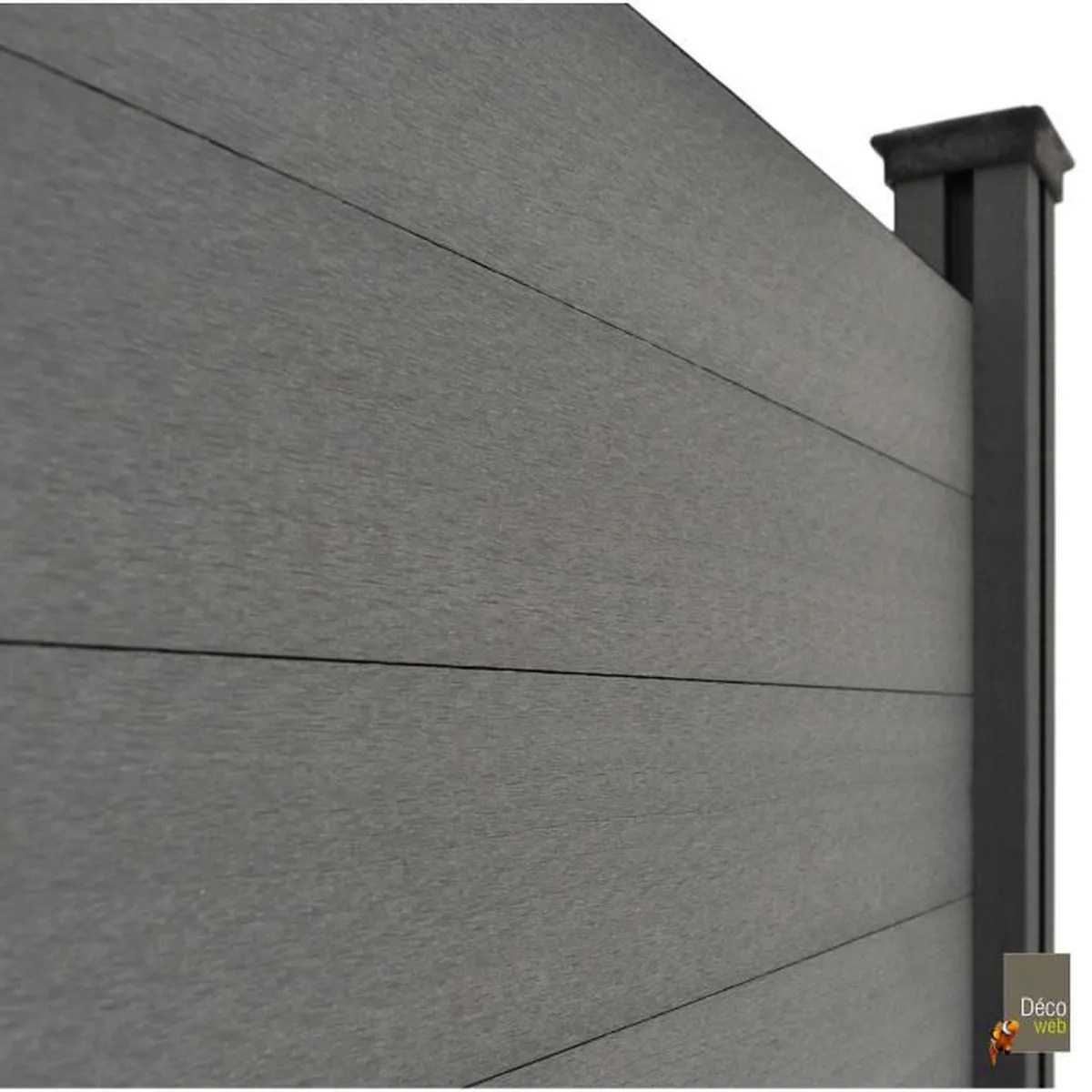 panneau occultant brise vue en composite gris larg 236 cm