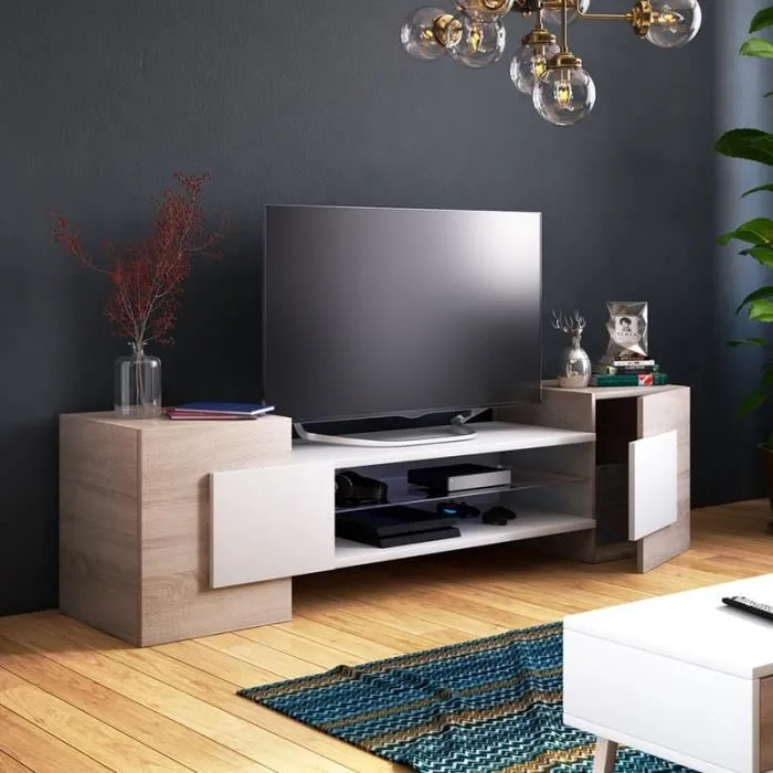 meuble tv meuble de salon gaelin 160 cm effet chene blanc sans led style contemporain design moderne