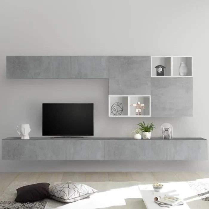 meuble tv avec rangement gris et blanc belfiore gr