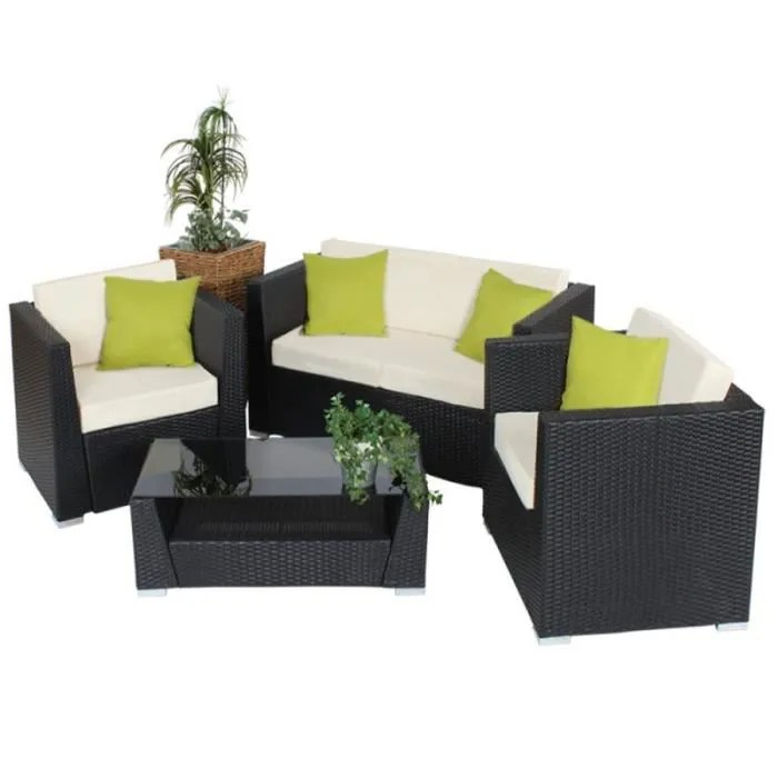salon de jardin rotin resine tresse synthetique noir coussins housses 2108013