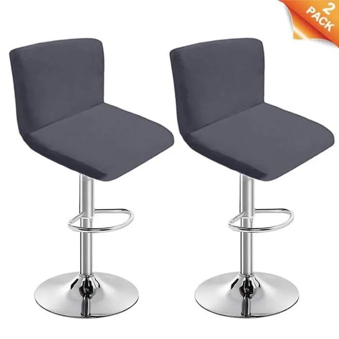 housses de tabouret de bar avec dossier extensible couverture pour chaise de salle a manger pivotante gris fonce 2 pieces