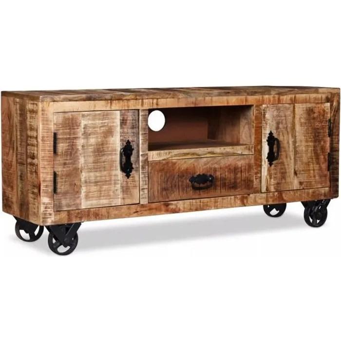 meuble tv vintage avec 4 roulettes bois de mangu