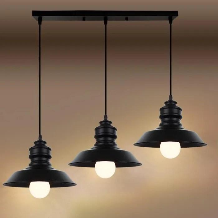vintage suspension luminaire industrielle 3 lampes
