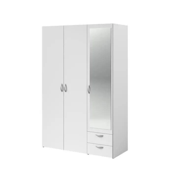 Varia Armoire 3 Portes Miroir Decor Blanc L 120 X P 51 X H 185 Cm Achat Vente Armoire De Chambre Varia Armoire 3 Portes Miroir Soldes Sur Cdiscount Des Le 20 Janvier Cdiscount