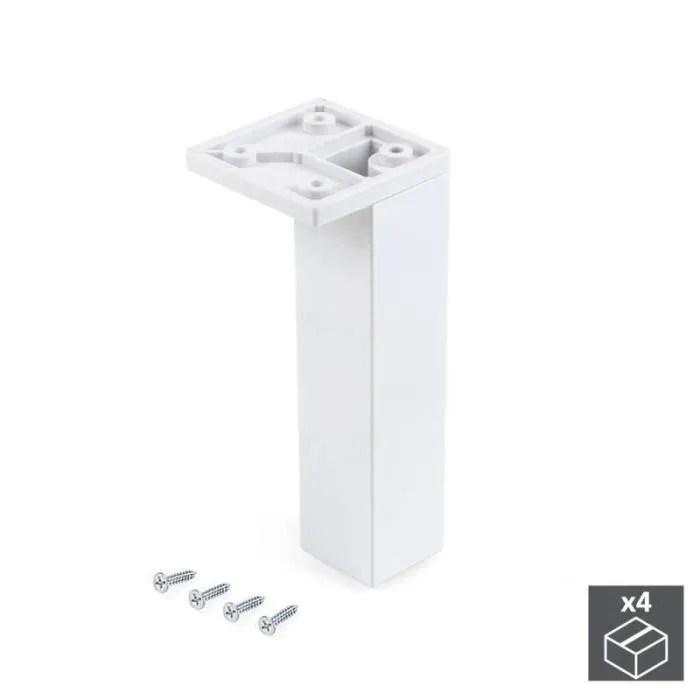 pied pour meubles coin reglable 140 150 mm plastique blanc 4 u emuca 2023412