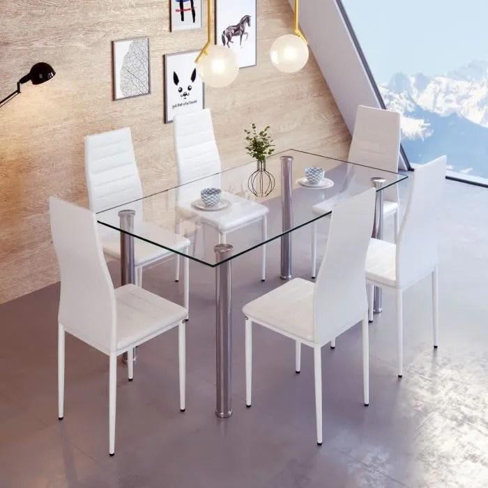 lot de 6 chaises bandeau pour salle a manger blanc laizere