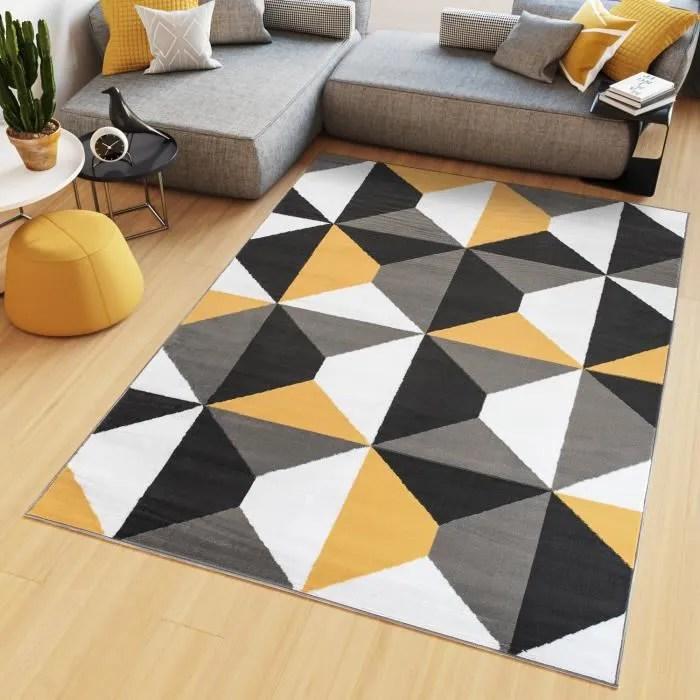 tapiso maya tapis salon chambre ado moderne trapeze orange gris blanc fin 80 x 150 cm