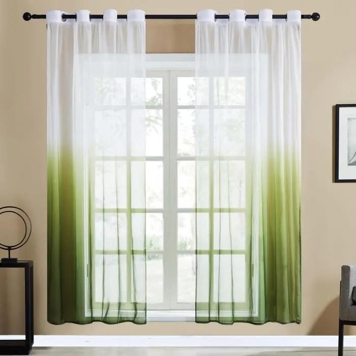2pcs rideaux voilage noel 140x220cm vert en degr