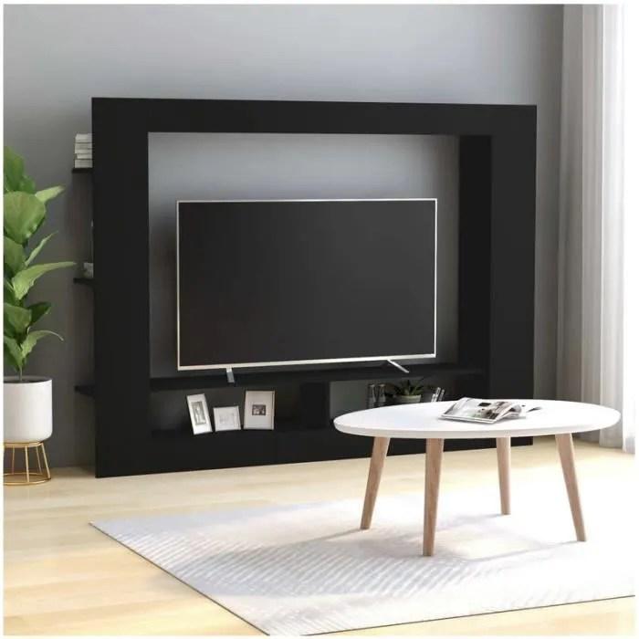 meuble tv noir 152x22x113 cm mode simple design pe