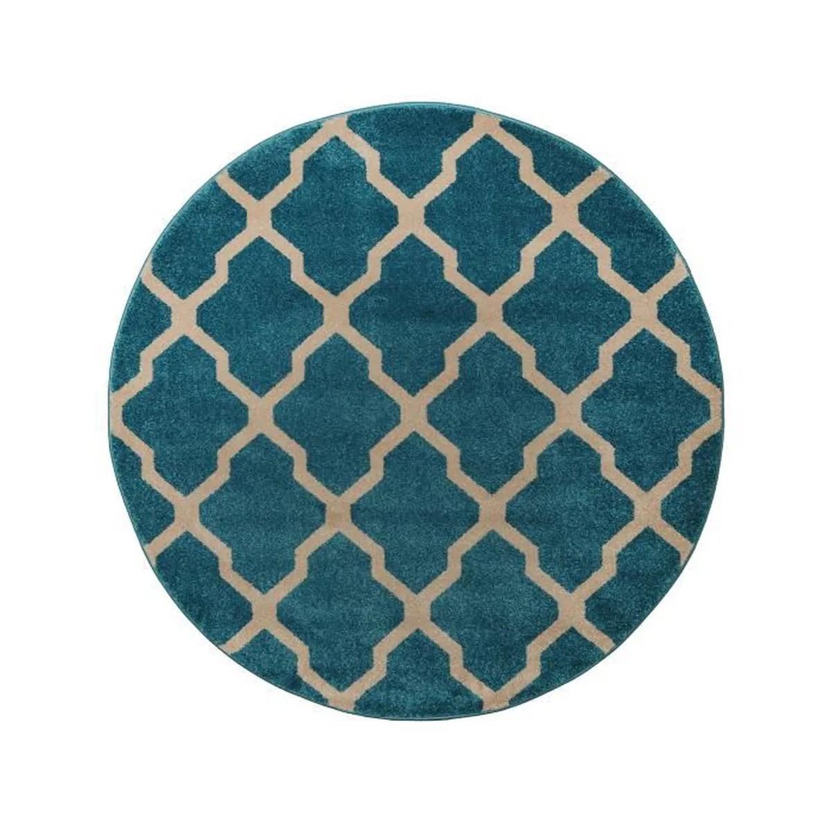 tapis poil ras rond lotus bleu o 200 cm