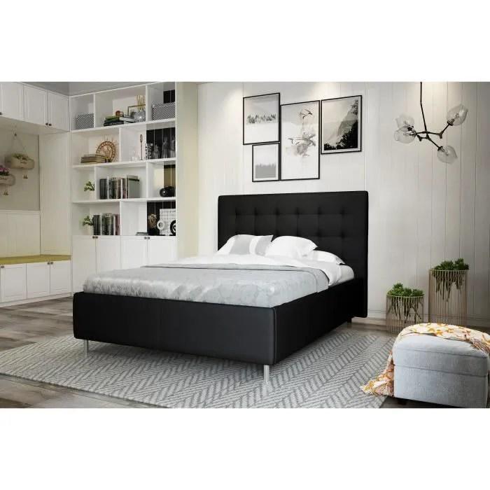 tyyli lit adulte contemporain en simili noir pieds metal l 140 x l 190 cm