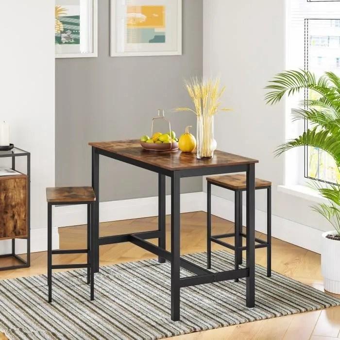 vasagle lot table et chaises de bar table haute avec 2 tabourets style industriel pour cuisine ou salon marron rustique lbt15x